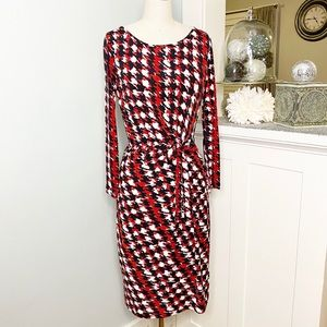 Anne Klein Red Printed Tie Front Wrap Dress Nwt